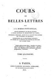 Cours de belles lettres: Volume4