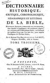 Dictionnaire Historique, Critique, Chronologique, Geographique et Litteral de la Bible