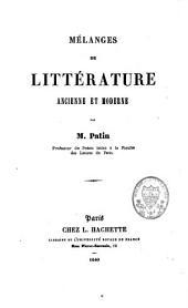 Mélanges de littérature ancienne et moderne