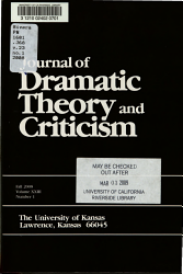 Journal of Dramatic Theory and Criticism PDF