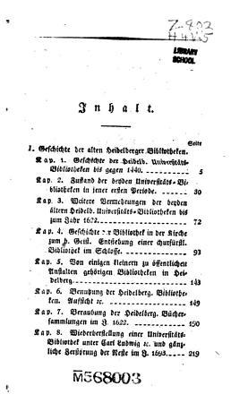 Geschichte der Bildung  Beraubung und Vernichtung der alten Heidelbergischen Buchersammlungen PDF