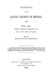 Journal of the Asiatic Society of Bengal: Volume 54, Part 1