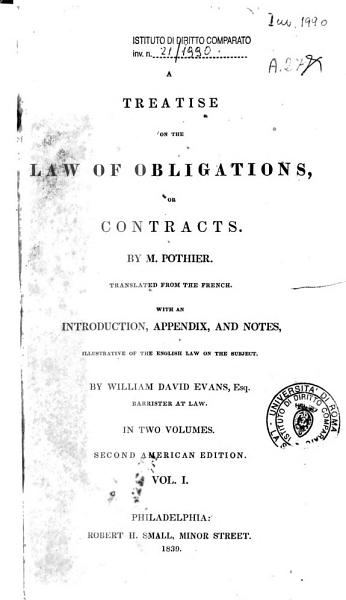 A Treatise on the Law of Obligations  Or Contracts