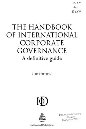 The Handbook of International Corporate Governance PDF