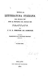 Della letteratura italiana: dal secolo XIV fino al principio del secolo XIX
