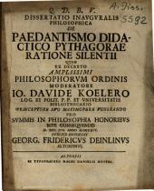 De Paedantismo Didactico Pythagorae Ratione Silentii