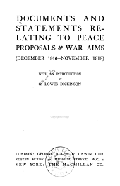 Documents and statements relating to peace proposals & war aims