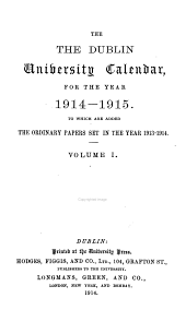 The Dublin University Calendar: Volume 1