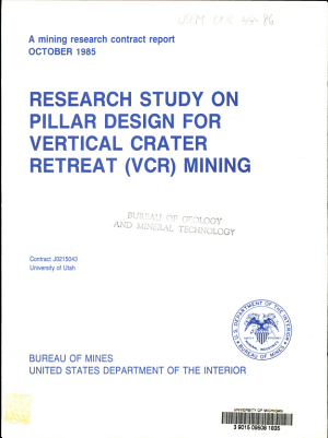 Research Study on Pillar Design for Vertical Crater Retreat  VCR  Mining PDF