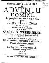 Disputatio theologica de adventu domini