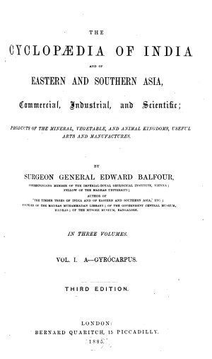The Cyclopædia of India and of Eastern and Southern Asia