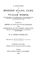 A Dictionary of Modern Slang  Cant  And  Vulgar Words PDF
