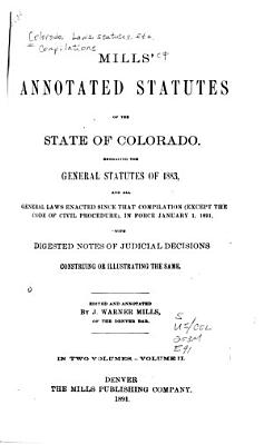 Mills  Annotated Statutes of the State of Colorado PDF