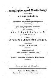 De anaglypho, quod Mariaeburgi invenitur, commentatio ... Annexa est tabula artis lithographicae