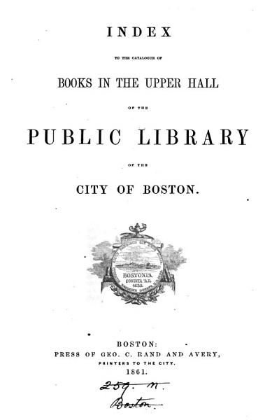 Download Index to the catalogue of books in the upper hall Book