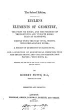 The school edition  Euclid s Elements of geometry  the first six books  by R  Potts  corrected and enlarged  corrected and improved  including portions of book 11 12   PDF