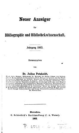 Neuer Anzeiger f  r Bibliographie und Bibliothekwissenschaft PDF