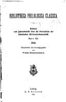 Jahresbericht   ber die Fortschritte der klassischen Altertumwissenschaft PDF