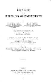 Text-book of the Embryology of Invertebrates: Arachnida, Pentastomidae, Pantopoda, Tardigrada, Onychophora, Myriopoda, Insecta
