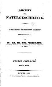Archiv für Naturgeschichte: Band 1