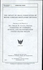 The Impact on Small Communities of Motor Carriage Regulatory Revision PDF