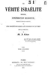 La Vérité Israélite: recueil d'instruction religieuse, Volume5