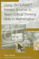 Using Internet Primary Sources to Teach Critical Thinking Skills in Mathematics PDF