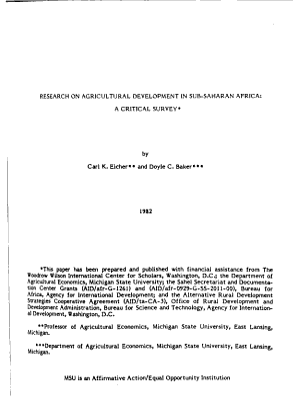 MSU International Development Papers PDF
