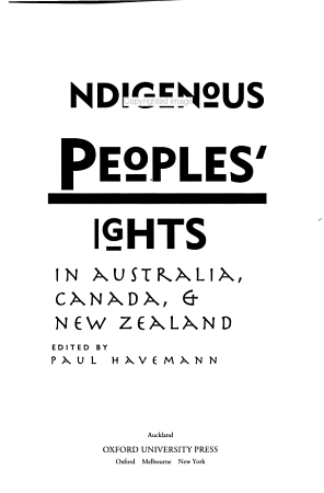 Indigenous Peoples  Rights in Australia  Canada    New Zealand PDF