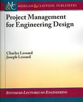 Project Management for Engineering Design PDF