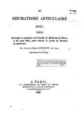 Du rhumatisme articulaire aigu; thèse, etc