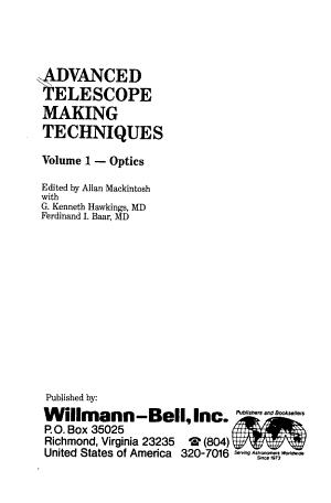 Advanced Telescope Making Techniques  Optics