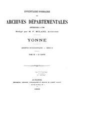 Archives départementales de l'Yonne: inventaire sommaire