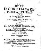 Iudaeus in Christiana republica tolerandus