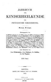 Jahrbuch für Kinderheilkunde und Physische Erziehung
