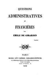 Questions administratives et financières