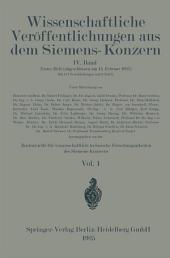 Wissenschaftliche Veröffentlichungen aus dem Siemens-Konzern: Band 4