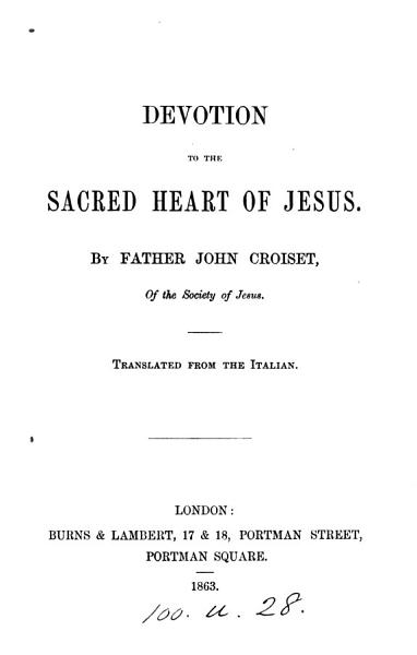 Download Devotion to the sacred heart of Jesus  Transl Book