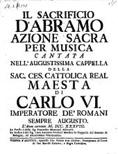 Il sacrificio d'Abramo; azione sacra per musica. La musica e di Luca-Antonio Predieri