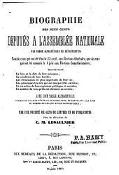 Biographie des 900 députés à l'Assemblée nationale [de 1848]