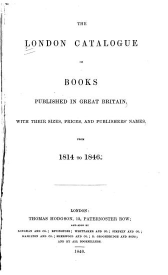 The London Catalogue of Books Published in Great Britain PDF