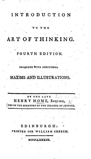 Introduction to the Art of Thinking  Fourth edition  enlarged  etc PDF