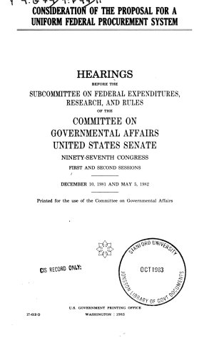 Consideration of the Proposal for a Uniform Federal Procurement System