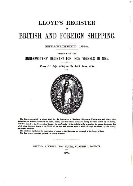 Download Lloyd s Register of British and Foreign Shipping Book