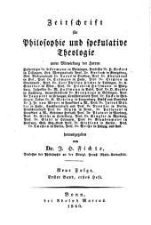 Zeitschrift für Philosophie und spekulative Theologie: Band 11