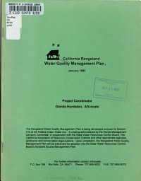 California Rangeland Water Quality Management Plan PDF