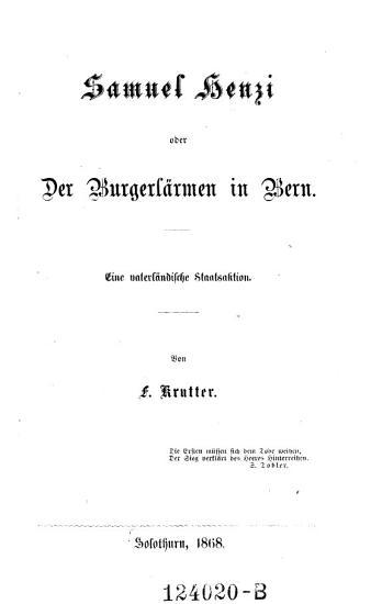 Samuel Henzi  oder Der Burgerl  rmen in Bern PDF