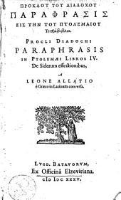 Paraphrasis in Ptolemaei libros IV: de siderum effectionibus