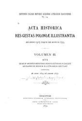Acta quae in archivio ministerii rerum exterarum gallici ad Joannis III regnum illustrandum spectant 1674-1683: Tom 1