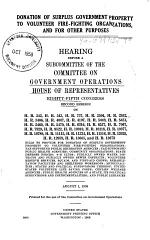 Donation of Surplus Government Property to Volunteer Fire-fighting Organizations, and for Other Purposes. 85-2, 1958